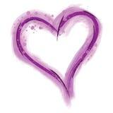 Corazón púrpura de la pintura Fotos de archivo
