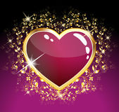 Corazón púrpura del vidrio Imagen de archivo libre de regalías