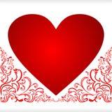 Corazón para el día de tarjeta del día de San Valentín con las fronteras florales. Imagen de archivo