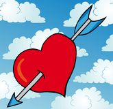 Corazón perforado en el cielo Imagen de archivo