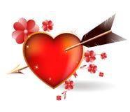 Corazón perforado por un Cupid de la flecha. Imagenes de archivo