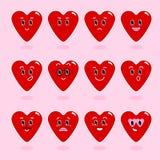 Corazón Personajes de dibujos animados con diversas emociones Iconos emocionales emoticon Un sistema de emociones Vector stock de ilustración
