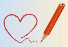 Corazón pintado por el lápiz Imágenes de archivo libres de regalías