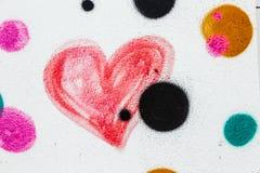 Corazón pintado rojo Imágenes de archivo libres de regalías