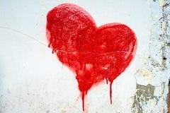 Corazón pintado rojo Foto de archivo