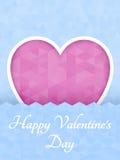 Corazón poligonal abstracto Corazón rojo de la papiroflexia en corte rosado del fondo Ilustración del vector Fondo romántico para stock de ilustración
