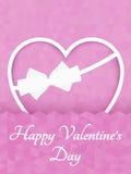 Corazón poligonal abstracto Corazón rojo de la papiroflexia en corte rosado del fondo Ilustración del vector Fondo romántico para ilustración del vector