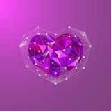 Corazón poligonal polivinílico bajo Fotografía de archivo libre de regalías