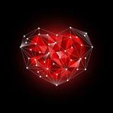 Corazón poligonal Vector polivinílico bajo Imágenes de archivo libres de regalías