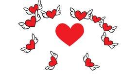 Corazón que bate la animación romántica de la historieta de la tarjeta de felicitación de la tarjeta del día de San Valentín libre illustration