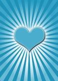 Corazón que brilla intensamente azul Fotos de archivo
