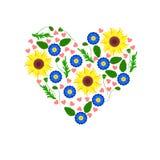 Corazón que consiste en las flores Ilustración del vector Imagen de archivo