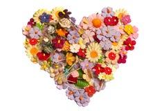 Corazón que hizo de la flor de papel Imagen de archivo