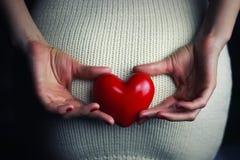 Corazón que se sostiene femenino de la mano imágenes de archivo libres de regalías