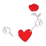 Corazón que sostiene una rosa Imagen de archivo