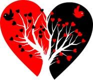 Corazón quebrado con el árbol blanco Imagen de archivo