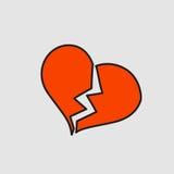 Corazón quebrado con la grieta Etiqueta engomada de la historieta en estilo cómico Imagen de archivo libre de regalías