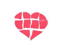 Corazón quebrado, corazón hecho del papel Imagen de archivo libre de regalías