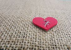 Corazón quebrado cosido Fotografía de archivo