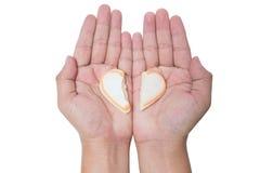 Corazón quebrado de la galleta de la tarjeta del día de San Valentín a disposición aislado en blanco Imágenes de archivo libres de regalías