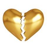 Corazón quebrado de oro Imagen de archivo