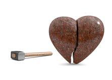 Corazón quebrado del granito Fotografía de archivo