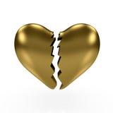 Corazón quebrado del oro Foto de archivo libre de regalías
