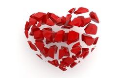 Corazón quebrado en blanco 3d rinden la ilustración Imagen de archivo