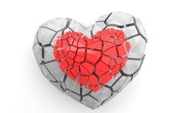 Corazón quebrado en blanco 3d rinden la ilustración Imagenes de archivo