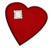 Corazón quebrado reparado, aislado Fotos de archivo libres de regalías