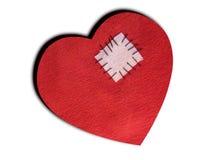 Corazón quebrado reparado - aislado en blanco Fotografía de archivo libre de regalías