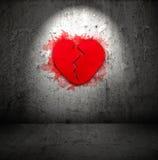 Corazón quebrado rojo Foto de archivo libre de regalías