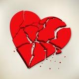 corazón quebrado rojo 3d en el fondo de papel libre illustration