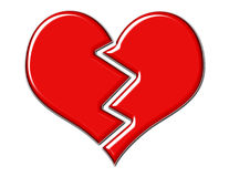 Corazón quebrado rojo agrietado Imagenes de archivo