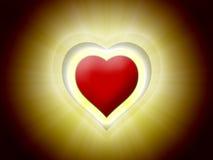 Corazón rojo 3D en negro con la luz ámbar Fotos de archivo libres de regalías