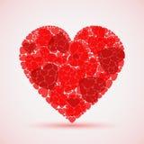 Corazón rojo abstracto del mosaico de la tarjeta del día de San Valentín Imagen de archivo