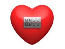 Corazón rojo aislado con el candado brillante del código del metal Fotos de archivo