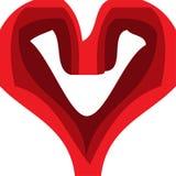 Corazón rojo, arte con 3 sombras de rojo Imagenes de archivo