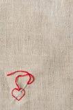 Corazón rojo bordado Imagen de archivo libre de regalías
