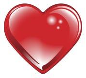 Corazón rojo brillante aislado de las tarjetas del día de San Valentín Fotos de archivo libres de regalías