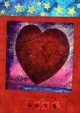 Corazón rojo con el AMOR 3 Fotos de archivo