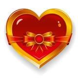 Corazón rojo con el arqueamiento Foto de archivo libre de regalías