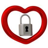 Corazón rojo con el candado 3d Imagen de archivo libre de regalías
