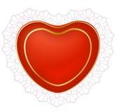 Corazón rojo con el cordón Imagenes de archivo