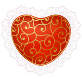 Corazón rojo con el cordón Foto de archivo libre de regalías
