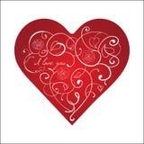 Corazón rojo con el ornamento blanco con las rosas aisladas Ilustración del Vector