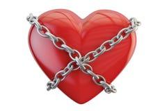 Corazón rojo con la cadena, representación 3D Imagen de archivo