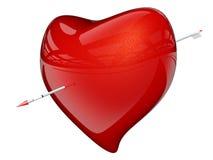 Corazón rojo con la flecha Imagenes de archivo