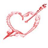 Corazón rojo con la flecha para el día de tarjeta del día de San Valentín Imagen de archivo libre de regalías