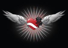 Corazón rojo con las alas stock de ilustración